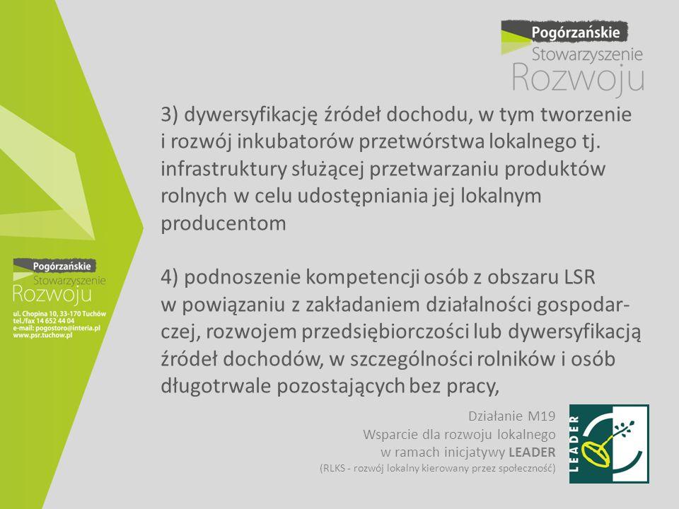 3) dywersyfikację źródeł dochodu, w tym tworzenie i rozwój inkubatorów przetwórstwa lokalnego tj. infrastruktury służącej przetwarzaniu produktów rolnych w celu udostępniania jej lokalnym producentom 4) podnoszenie kompetencji osób z obszaru LSR w powiązaniu z zakładaniem działalności gospodar-czej, rozwojem przedsiębiorczości lub dywersyfikacją źródeł dochodów, w szczególności rolników i osób długotrwale pozostających bez pracy,