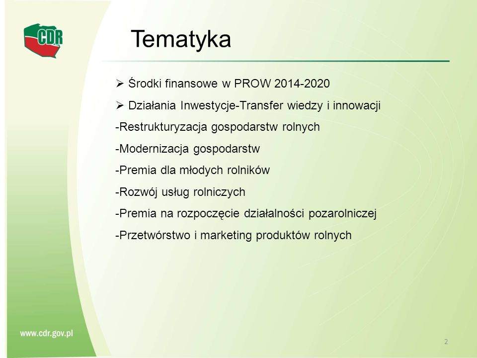 Tematyka Środki finansowe w PROW 2014-2020