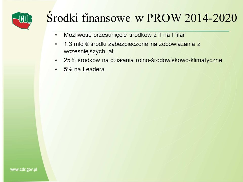 Środki finansowe w PROW 2014-2020