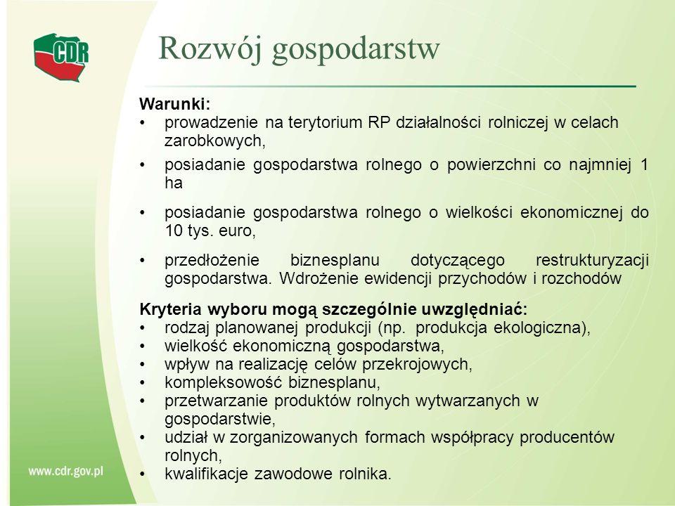 Rozwój gospodarstw Warunki: