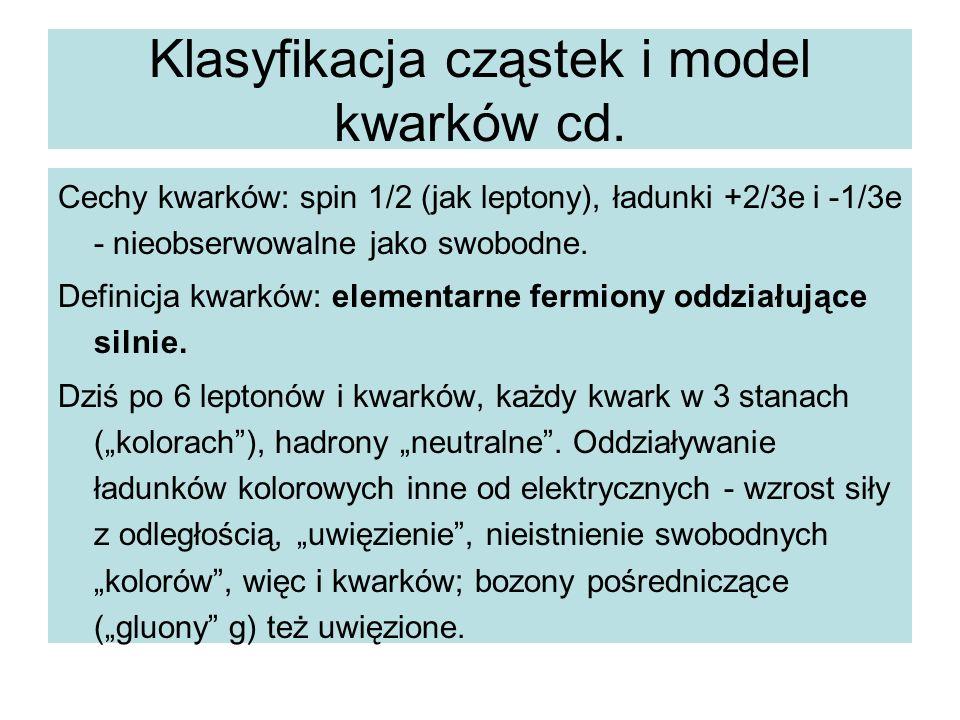 Klasyfikacja cząstek i model kwarków cd.