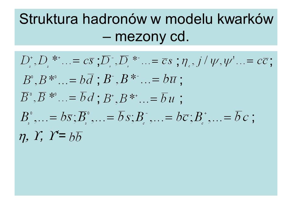 Struktura hadronów w modelu kwarków – mezony cd.