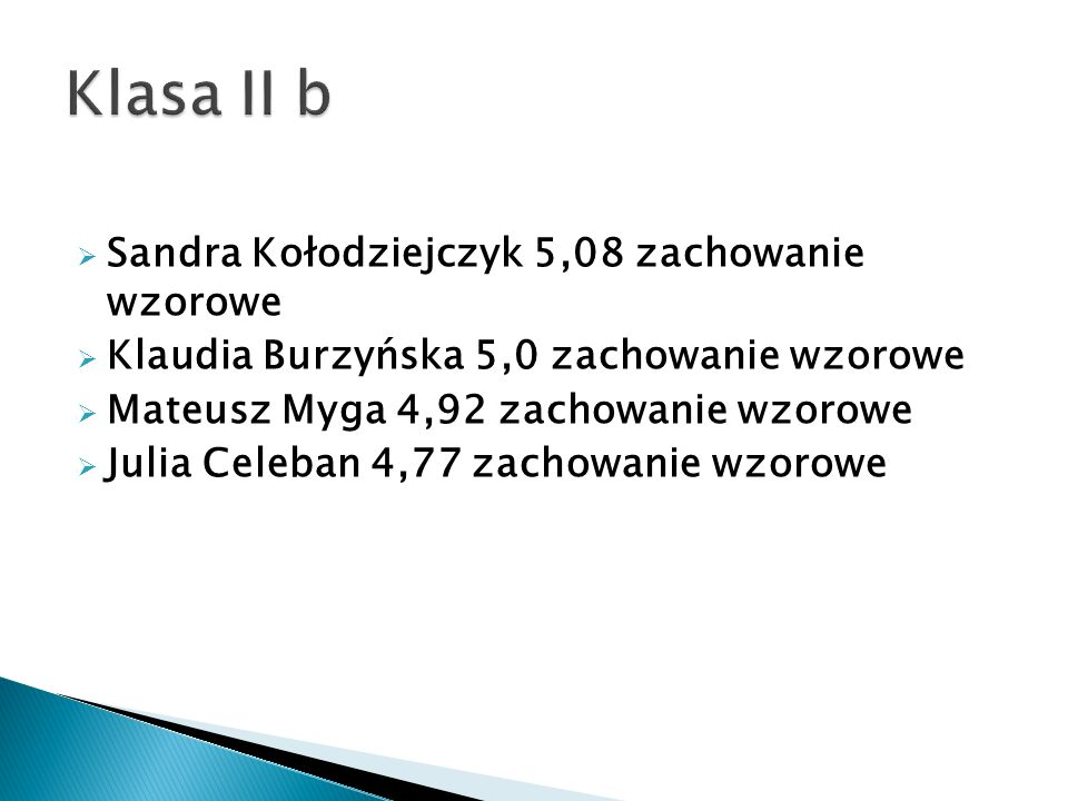 Klasa II b Sandra Kołodziejczyk 5,08 zachowanie wzorowe