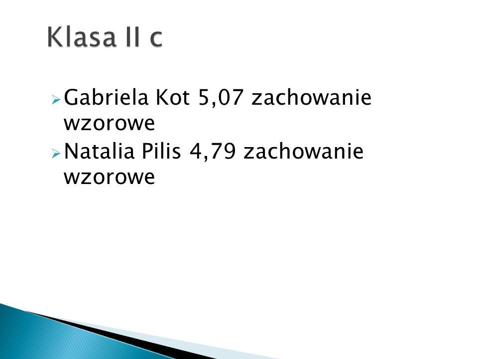 Klasa II c Gabriela Kot 5,07 zachowanie wzorowe