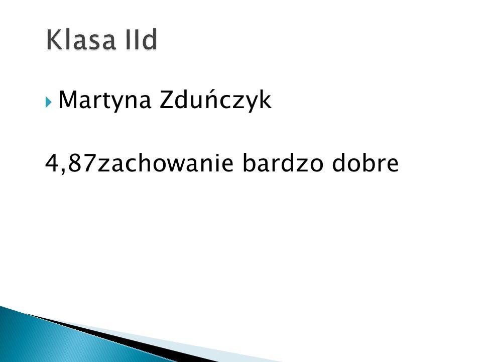 Klasa IId Martyna Zduńczyk 4,87zachowanie bardzo dobre