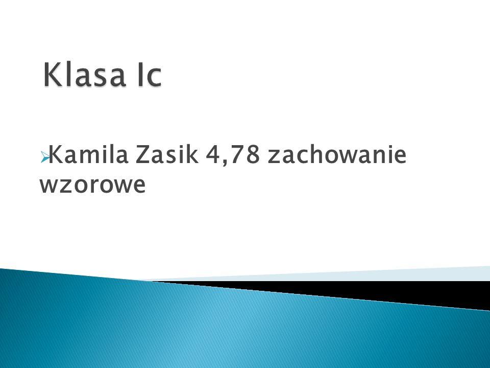 Kamila Zasik 4,78 zachowanie wzorowe