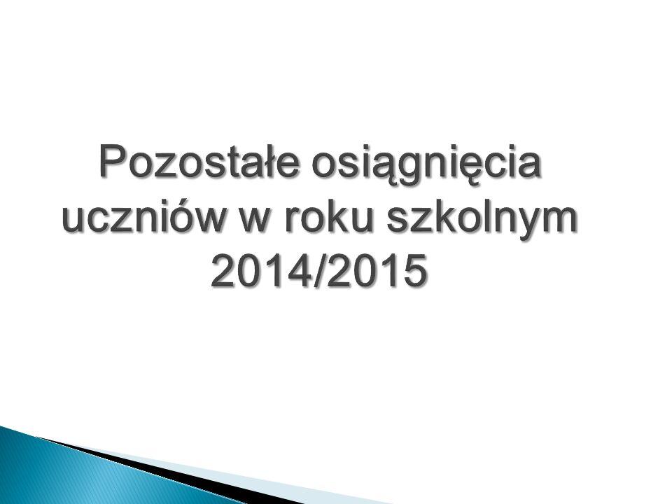 Pozostałe osiągnięcia uczniów w roku szkolnym 2014/2015