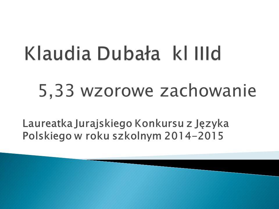 Klaudia Dubała kl IIId 5,33 wzorowe zachowanie