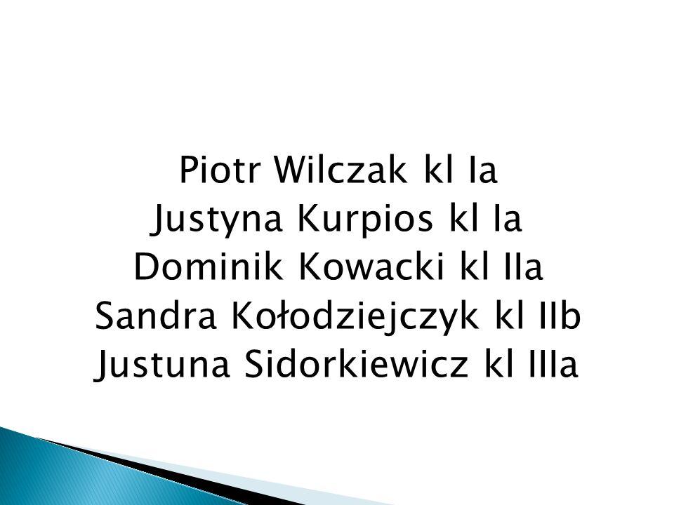 Piotr Wilczak kl Ia Justyna Kurpios kl Ia Dominik Kowacki kl IIa Sandra Kołodziejczyk kl IIb Justuna Sidorkiewicz kl IIIa