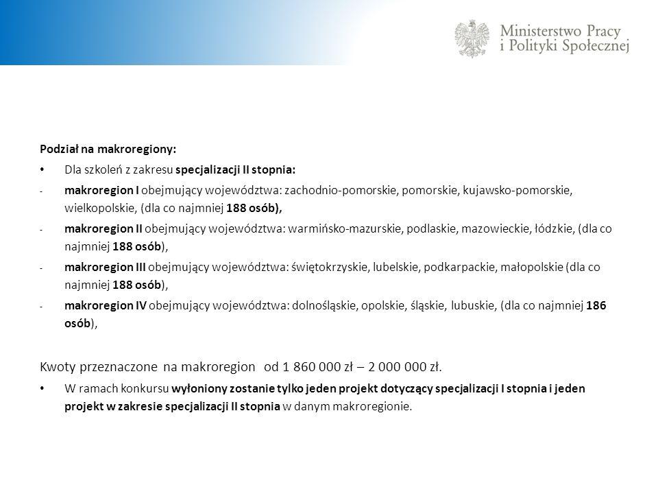 Kwoty przeznaczone na makroregion od 1 860 000 zł – 2 000 000 zł.