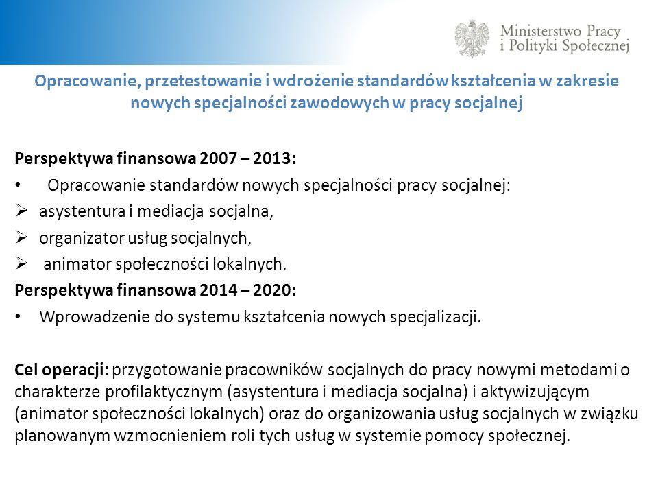 Opracowanie, przetestowanie i wdrożenie standardów kształcenia w zakresie nowych specjalności zawodowych w pracy socjalnej