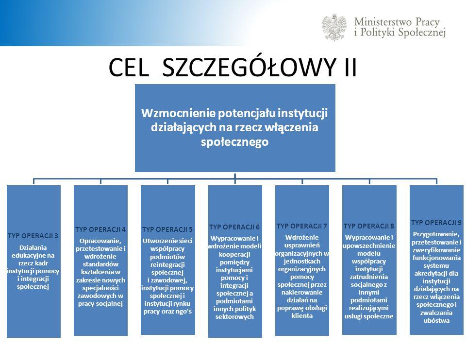 CEL SZCZEGÓŁOWY II Wzmocnienie potencjału instytucji działających na rzecz włączenia społecznego.
