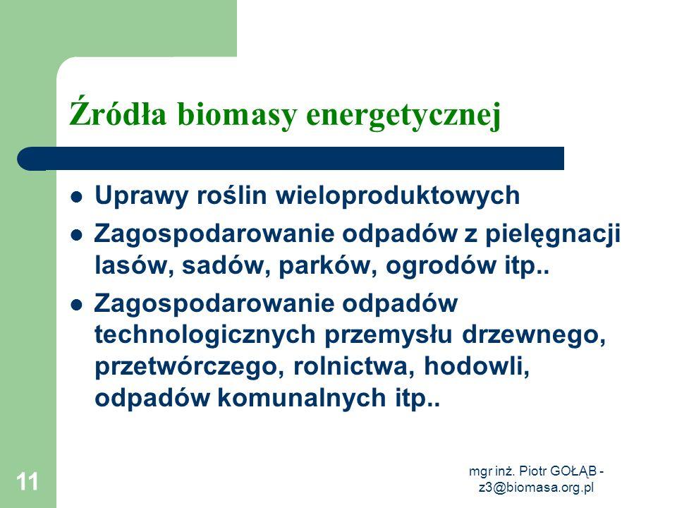 Źródła biomasy energetycznej