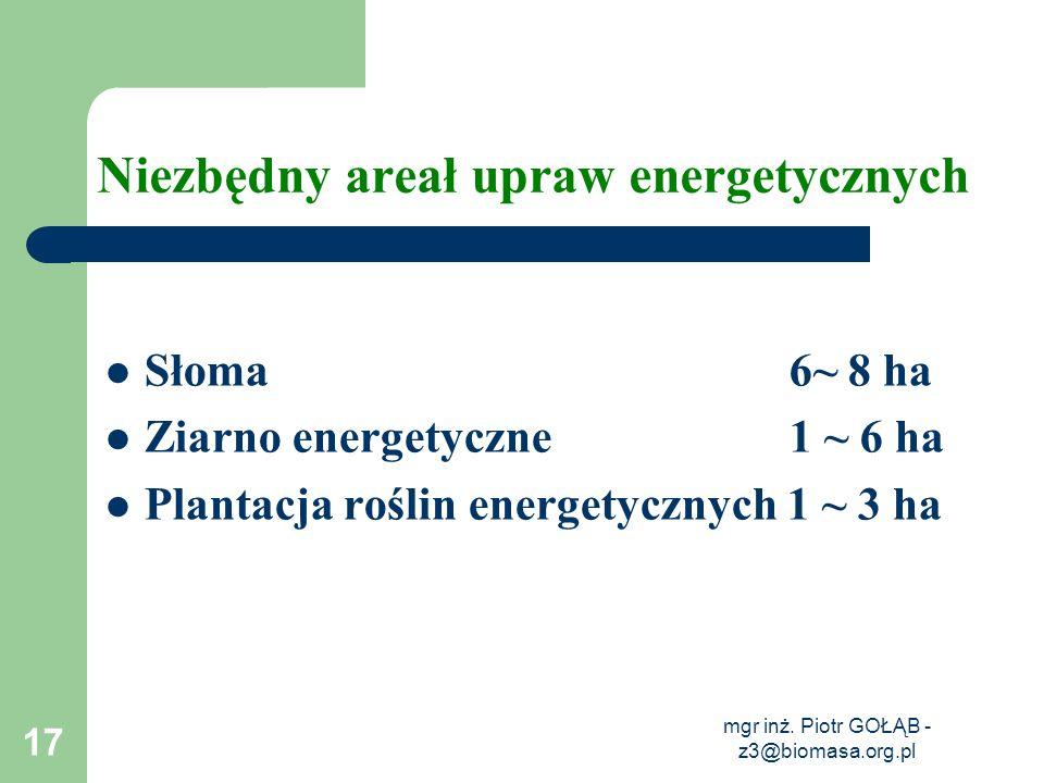 Niezbędny areał upraw energetycznych