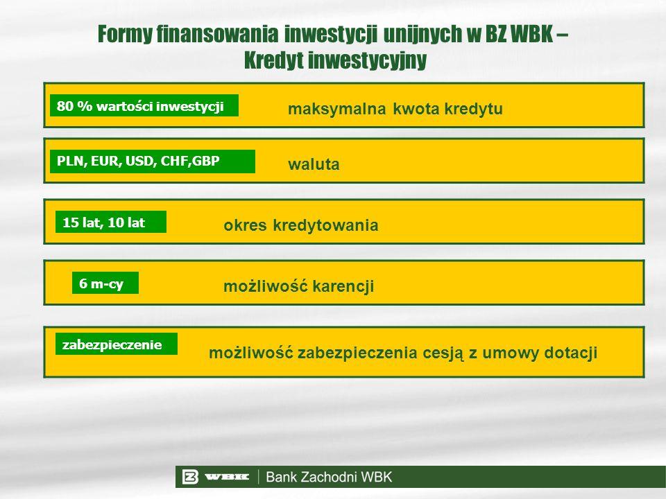 Formy finansowania inwestycji unijnych w BZ WBK – Kredyt inwestycyjny