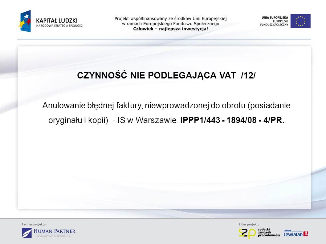 CZYNNOŚĆ NIE PODLEGAJĄCA VAT /12/