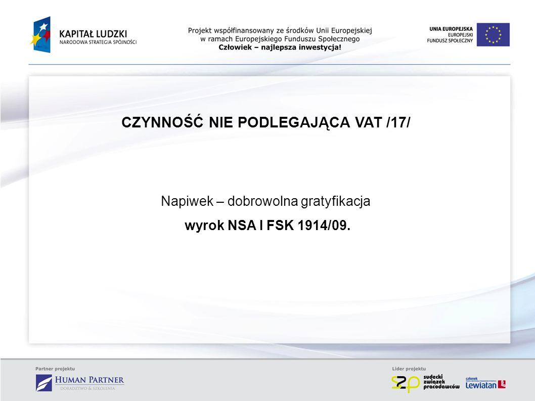 CZYNNOŚĆ NIE PODLEGAJĄCA VAT /17/