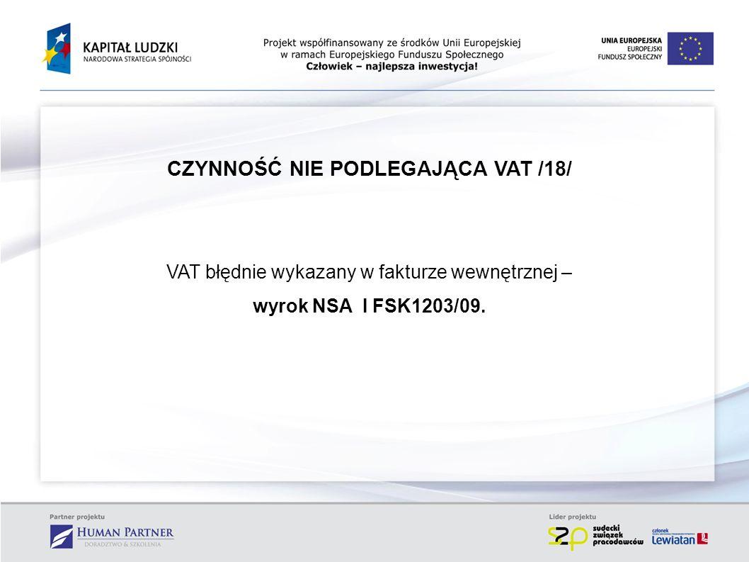 CZYNNOŚĆ NIE PODLEGAJĄCA VAT /18/
