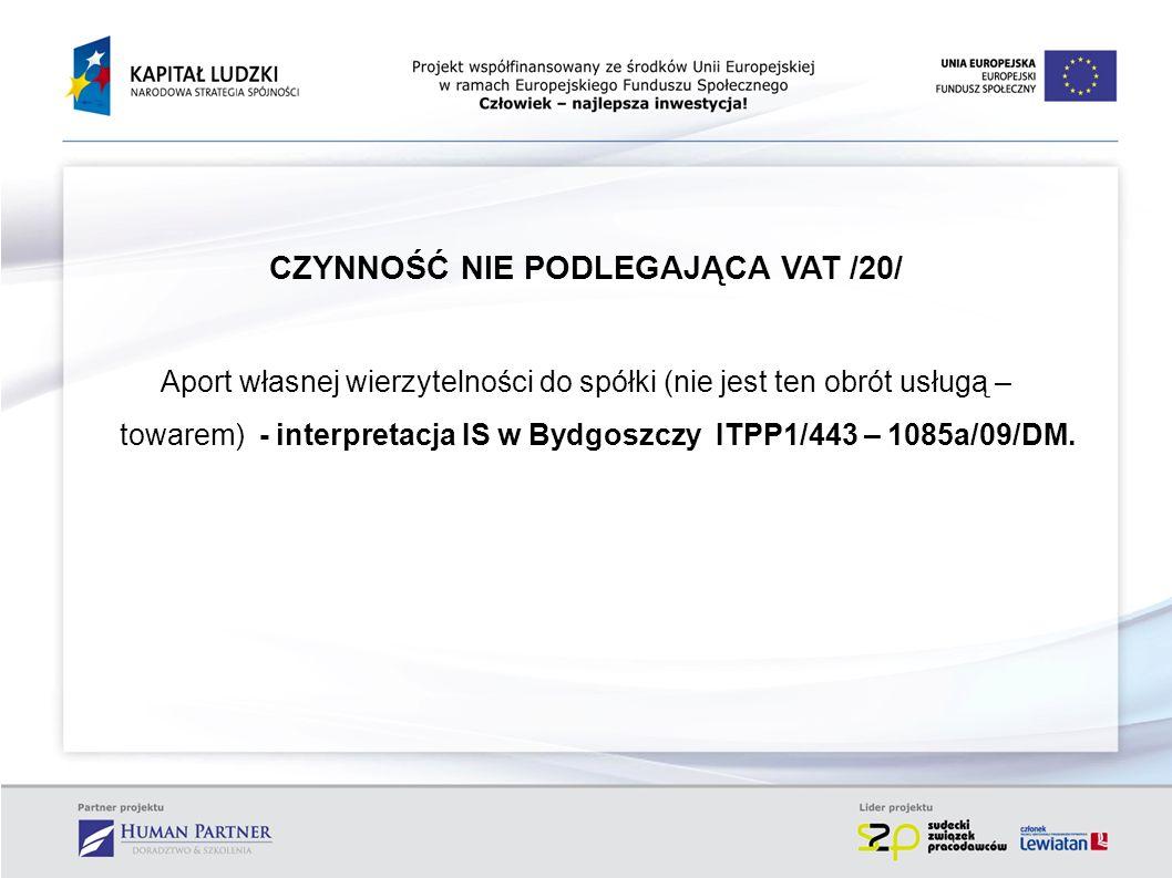 CZYNNOŚĆ NIE PODLEGAJĄCA VAT /20/