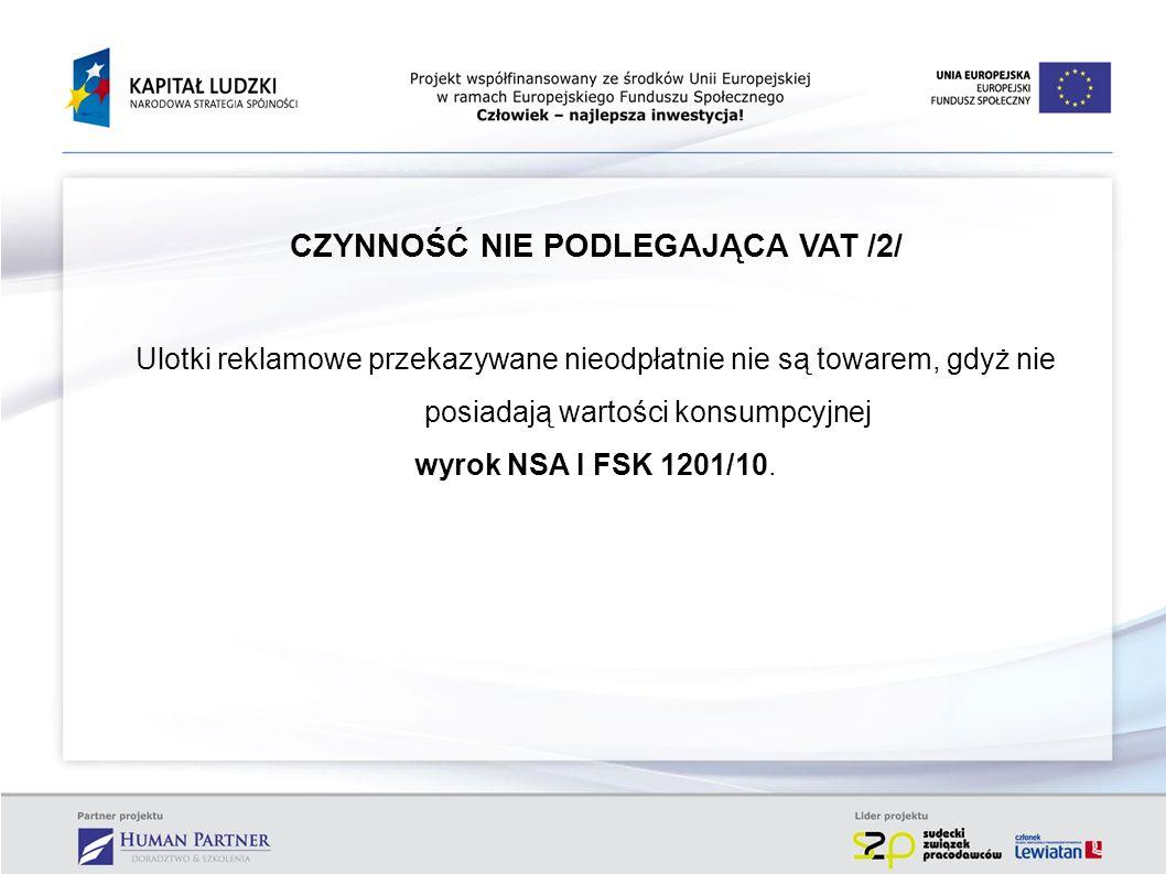 CZYNNOŚĆ NIE PODLEGAJĄCA VAT /2/