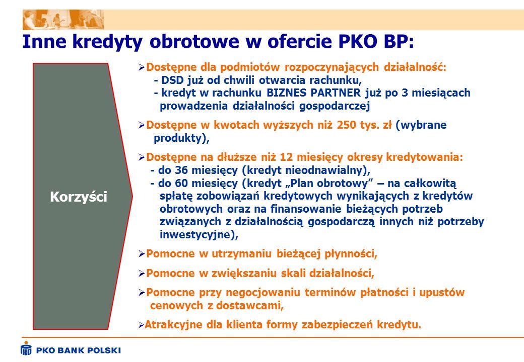 Inne kredyty obrotowe w ofercie PKO BP:
