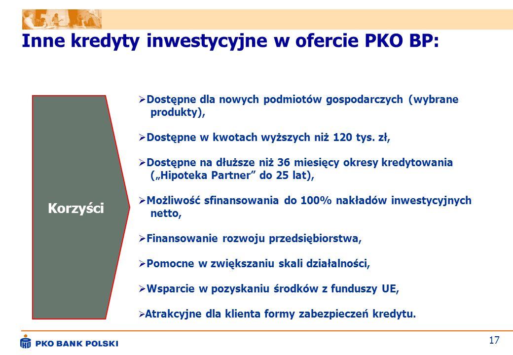 Inne kredyty inwestycyjne w ofercie PKO BP: