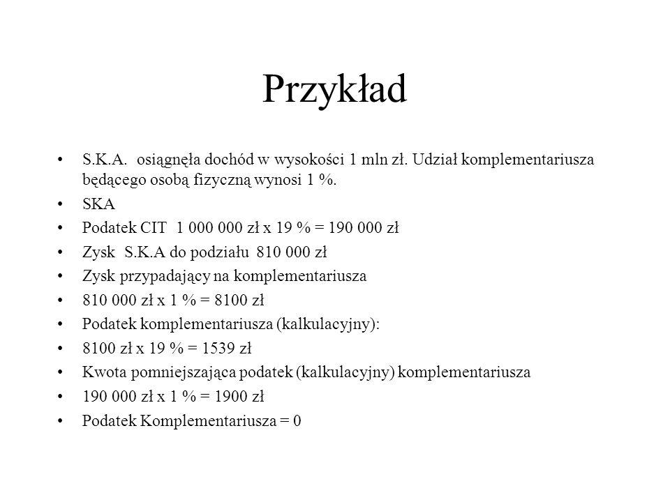 Przykład S.K.A. osiągnęła dochód w wysokości 1 mln zł. Udział komplementariusza będącego osobą fizyczną wynosi 1 %.