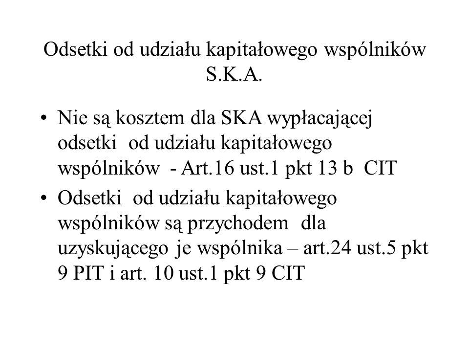 Odsetki od udziału kapitałowego wspólników S.K.A.
