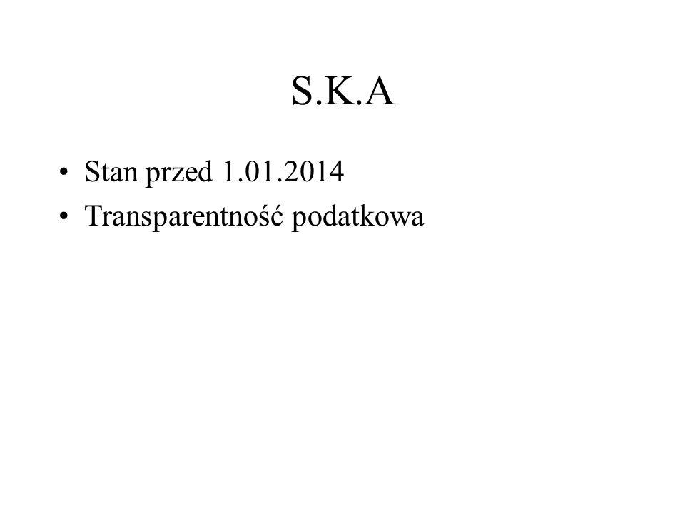 S.K.A Stan przed 1.01.2014 Transparentność podatkowa