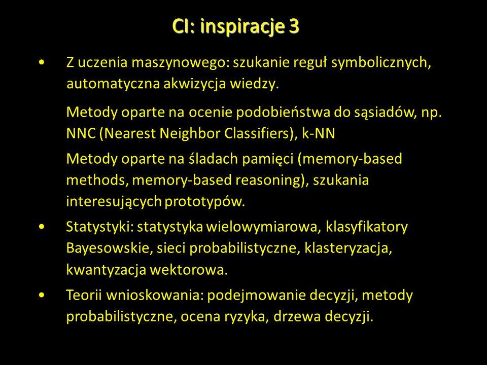 CI: inspiracje 3Z uczenia maszynowego: szukanie reguł symbolicznych, automatyczna akwizycja wiedzy.