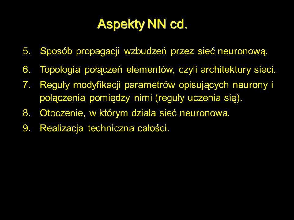 Aspekty NN cd. 5. Sposób propagacji wzbudzeń przez sieć neuronową.