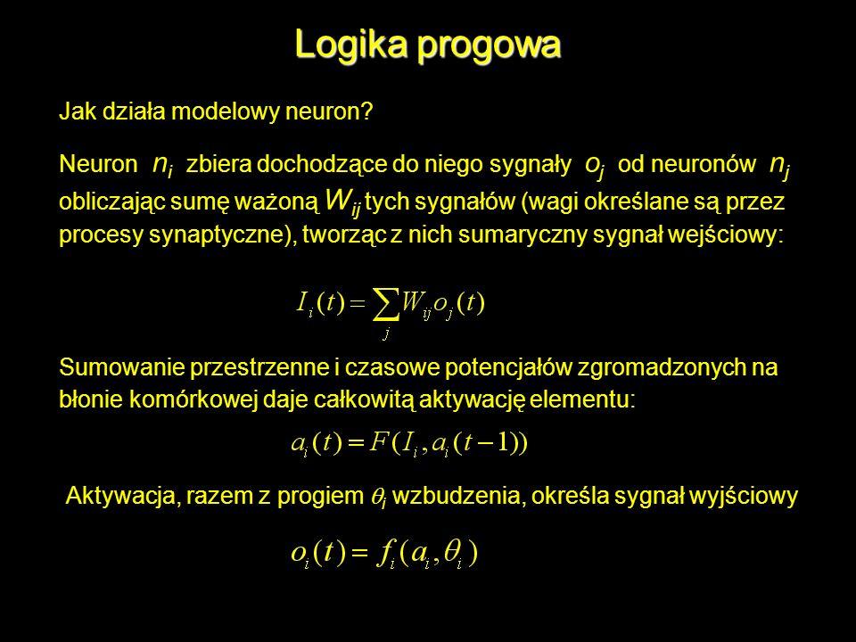 Logika progowa Jak działa modelowy neuron