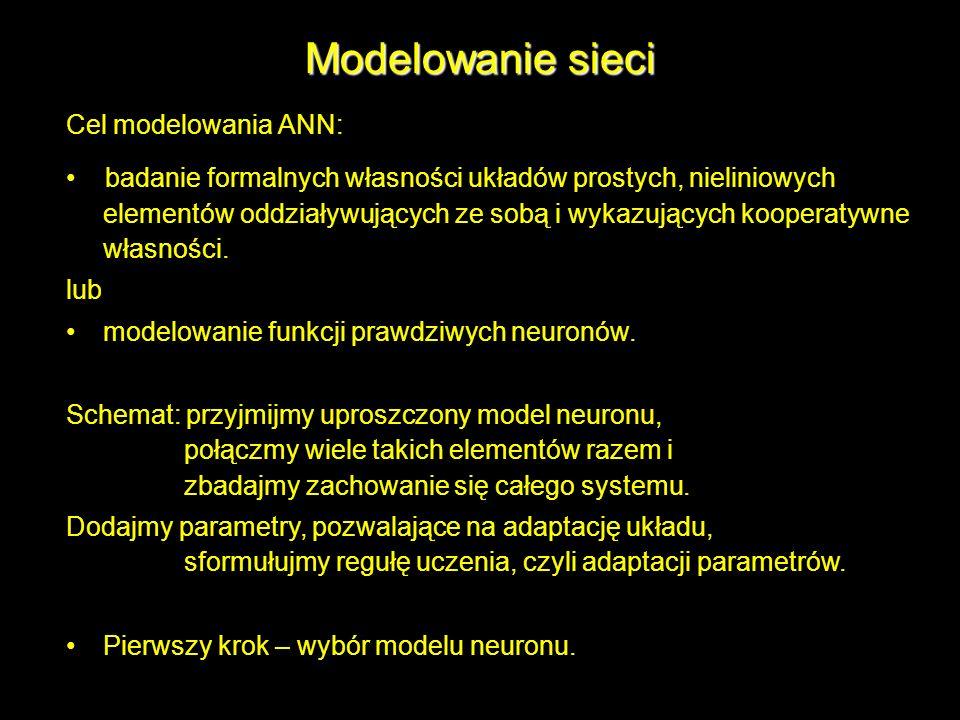 Modelowanie sieci Cel modelowania ANN: