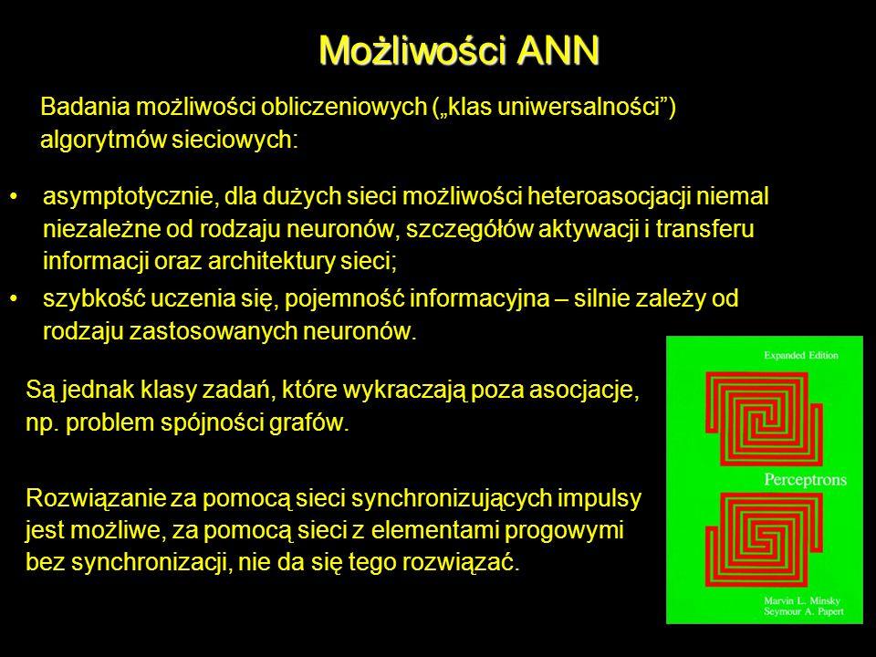 """Możliwości ANN Badania możliwości obliczeniowych (""""klas uniwersalności ) algorytmów sieciowych:"""