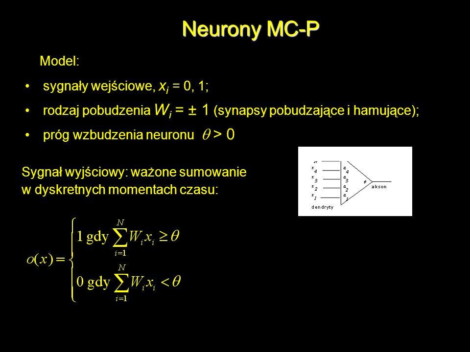 Neurony MC-P Model: • sygnały wejściowe, xi = 0, 1;