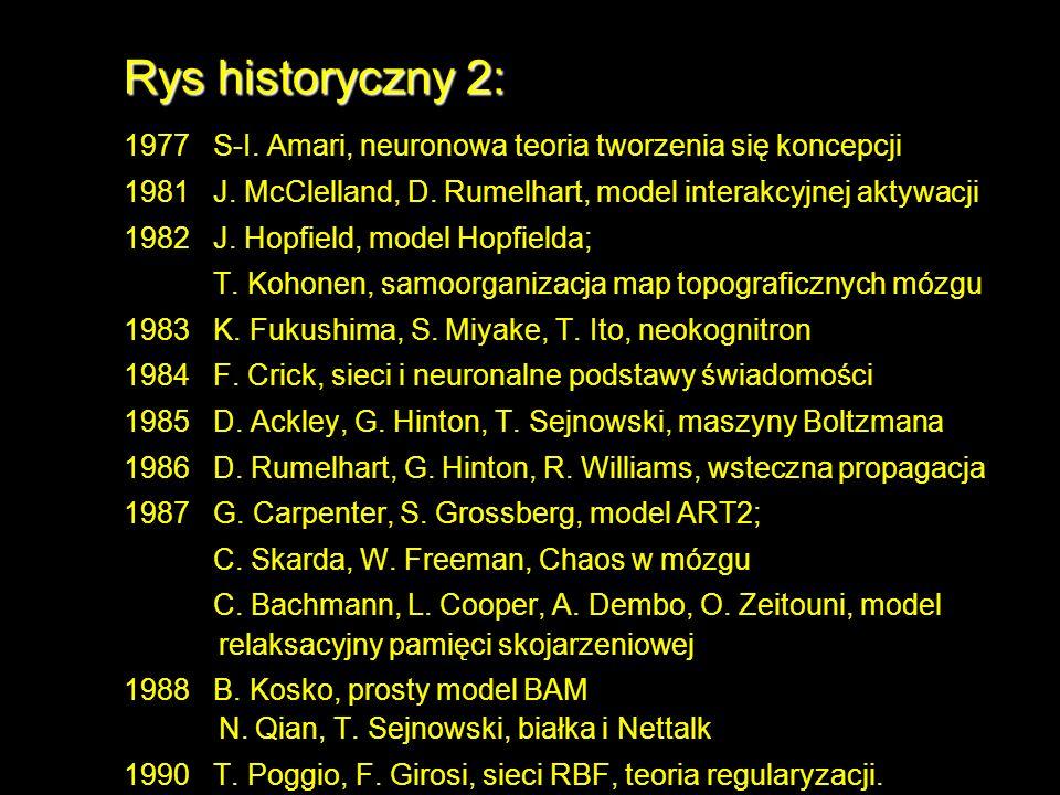 Rys historyczny 2: 1977 S-I. Amari, neuronowa teoria tworzenia się koncepcji. 1981 J. McClelland, D. Rumelhart, model interakcyjnej aktywacji.