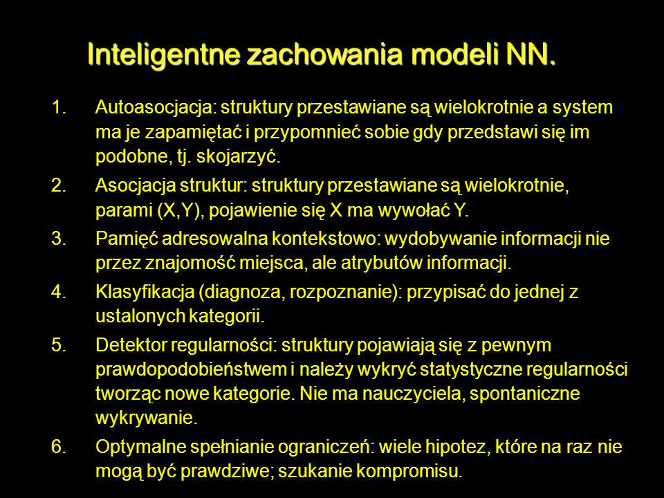 Inteligentne zachowania modeli NN.