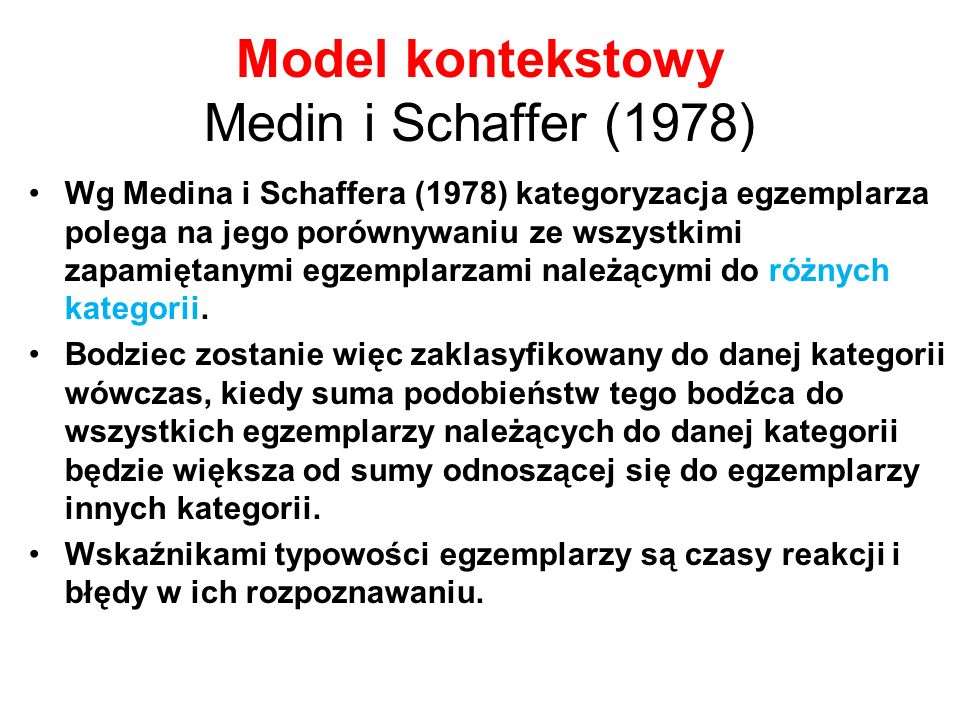 Model kontekstowy Medin i Schaffer (1978)