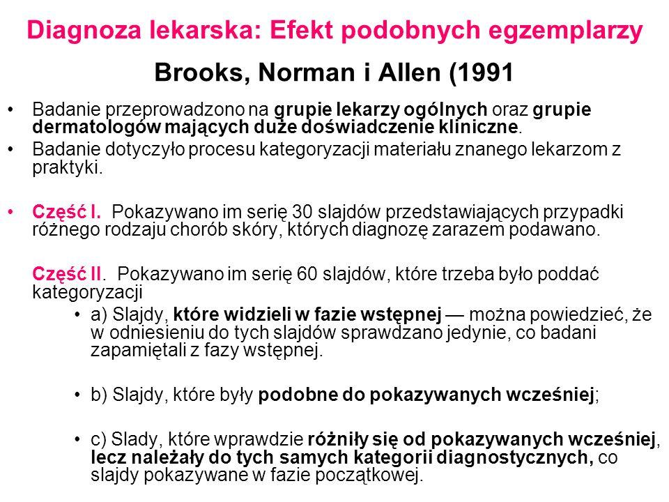 Diagnoza lekarska: Efekt podobnych egzemplarzy Brooks, Norman i Allen (1991