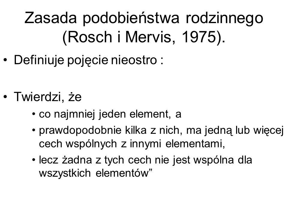 Zasada podobieństwa rodzinnego (Rosch i Mervis, 1975).