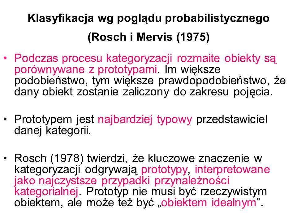 Klasyfikacja wg poglądu probabilistycznego (Rosch i Mervis (1975)