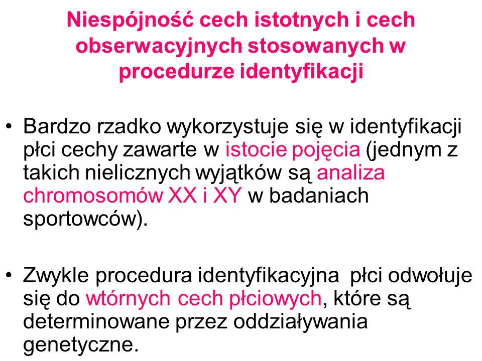 Niespójność cech istotnych i cech obserwacyjnych stosowanych w procedurze identyfikacji