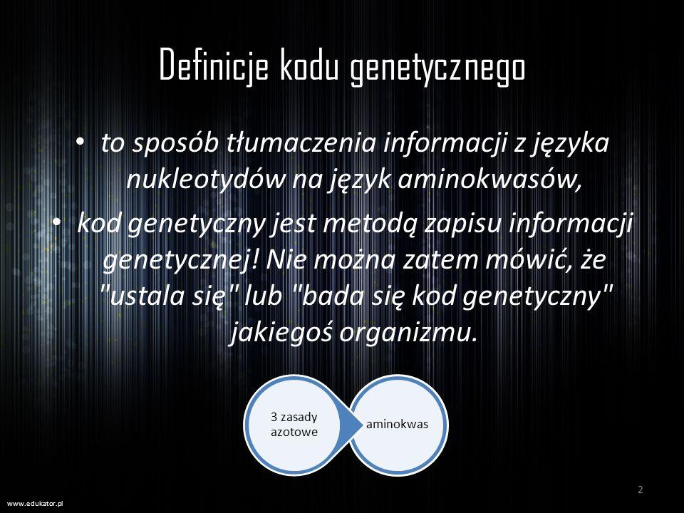 Definicje kodu genetycznego