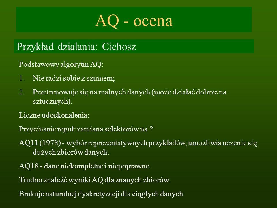 AQ - ocena Przykład działania: Cichosz Podstawowy algorytm AQ: