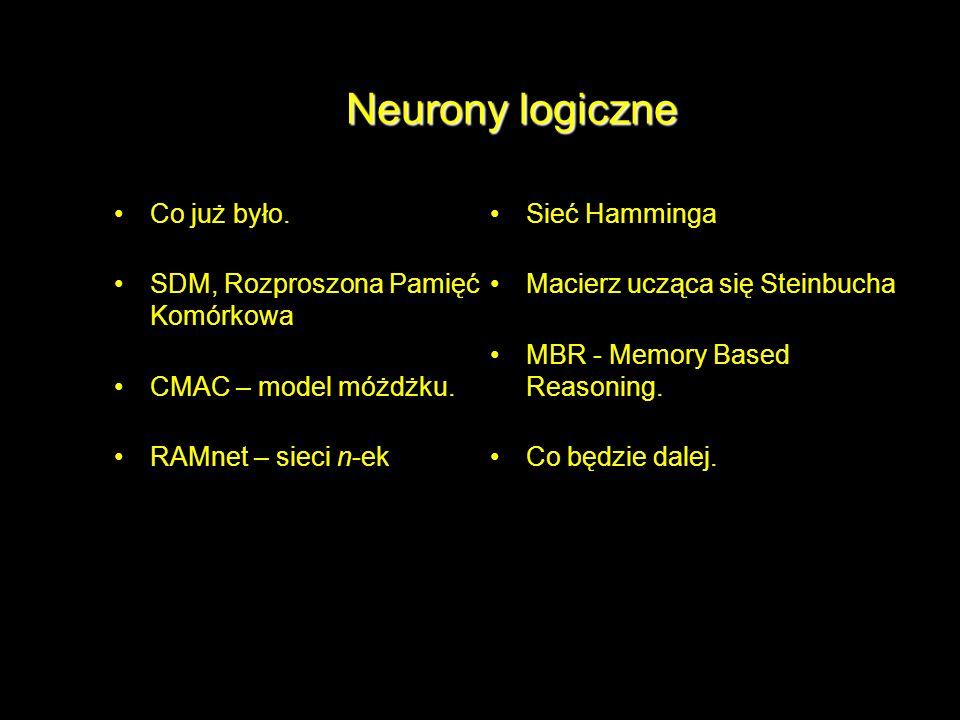 Neurony logiczne Co już było. SDM, Rozproszona Pamięć Komórkowa