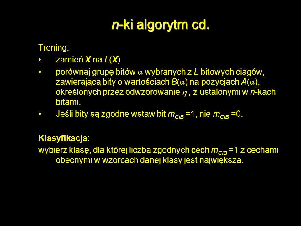 n-ki algorytm cd. Trening: zamień X na L(X)