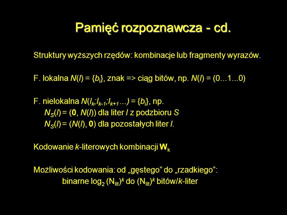 Pamięć rozpoznawcza - cd.