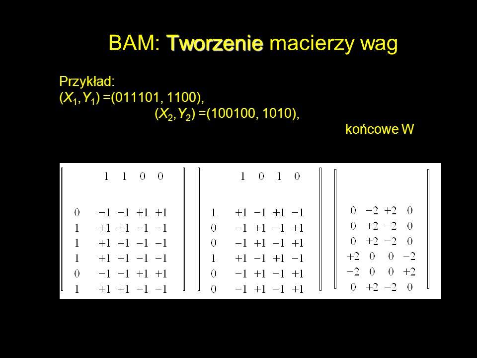BAM: Tworzenie macierzy wag
