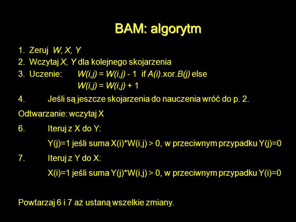 BAM: algorytm 1. Zeruj W, X, Y