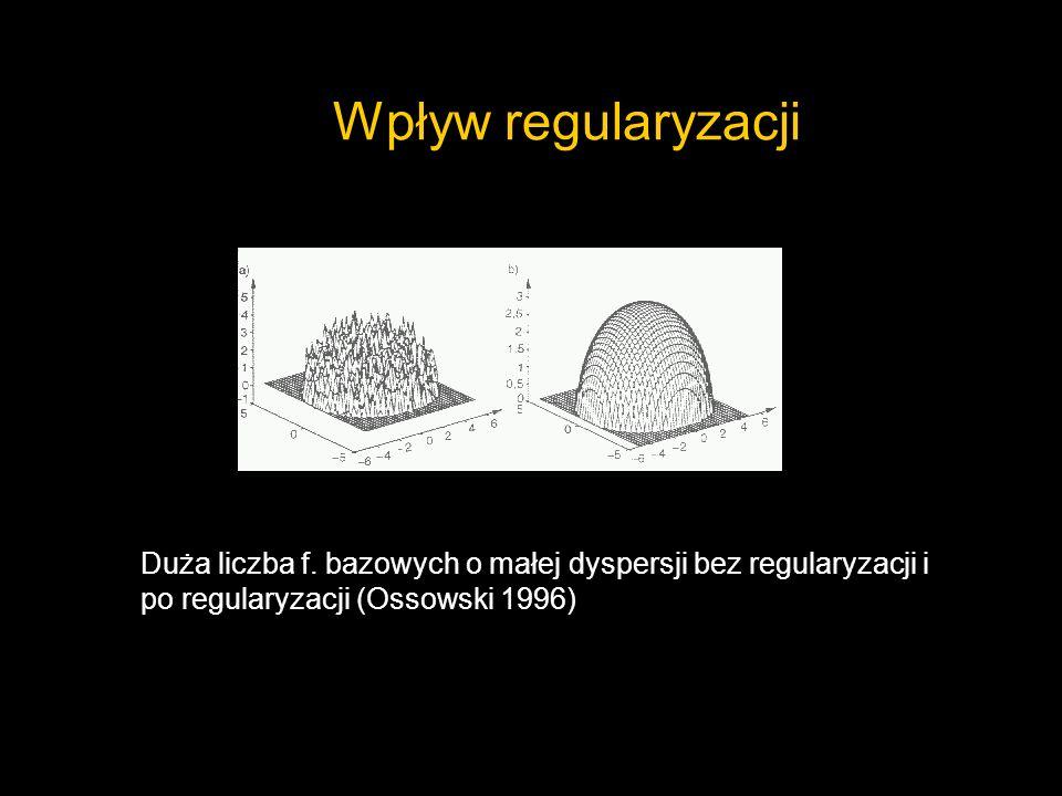 Wpływ regularyzacjiDuża liczba f. bazowych o małej dyspersji bez regularyzacji i po regularyzacji (Ossowski 1996)